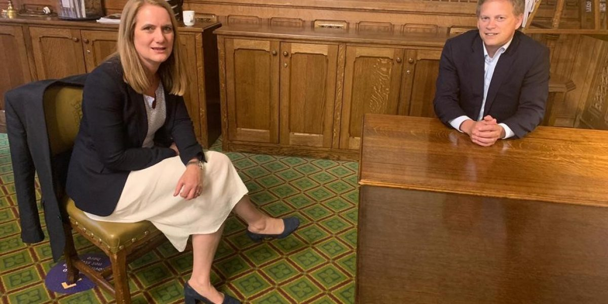 Virginia Crosbie MP with Grant Shapps MP (taken in 2020)