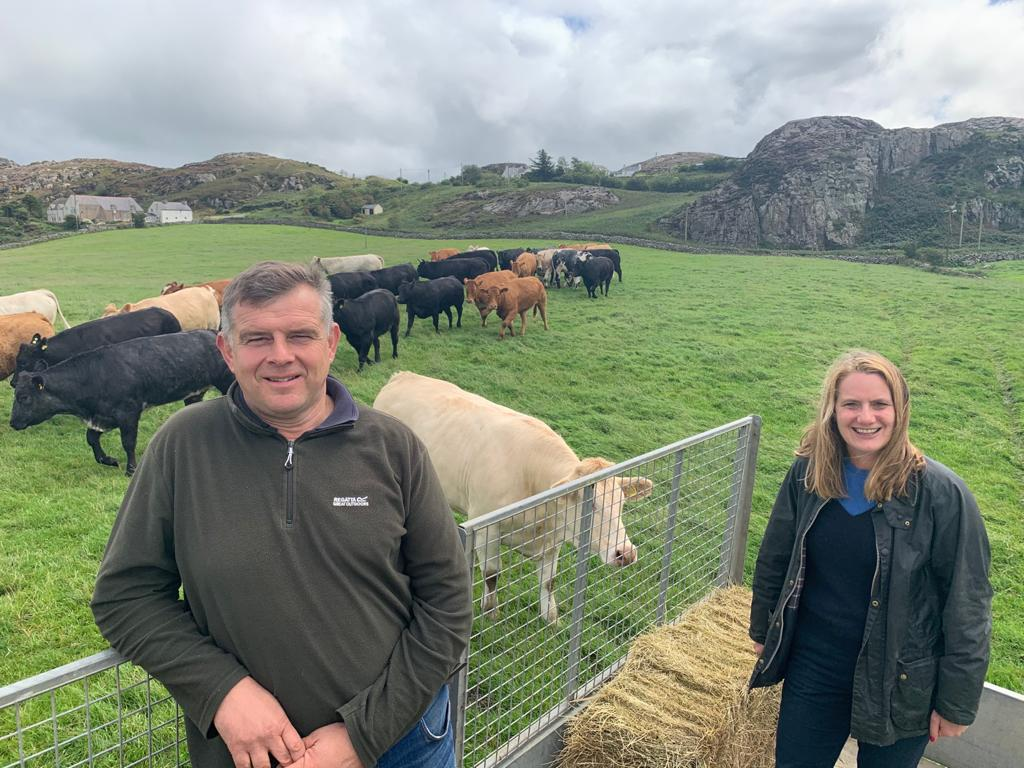Virginia with Brian Bown NFU Cymru Anglesey County Chairman Trewyn Farm